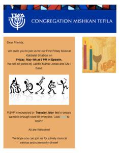 Friday Musical Kabbalat Shabbat and Dinner