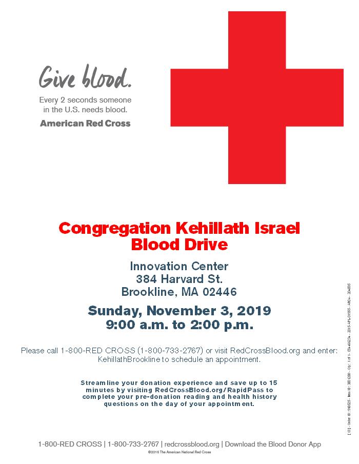 Congregation Kehillath Israel Blood Drive